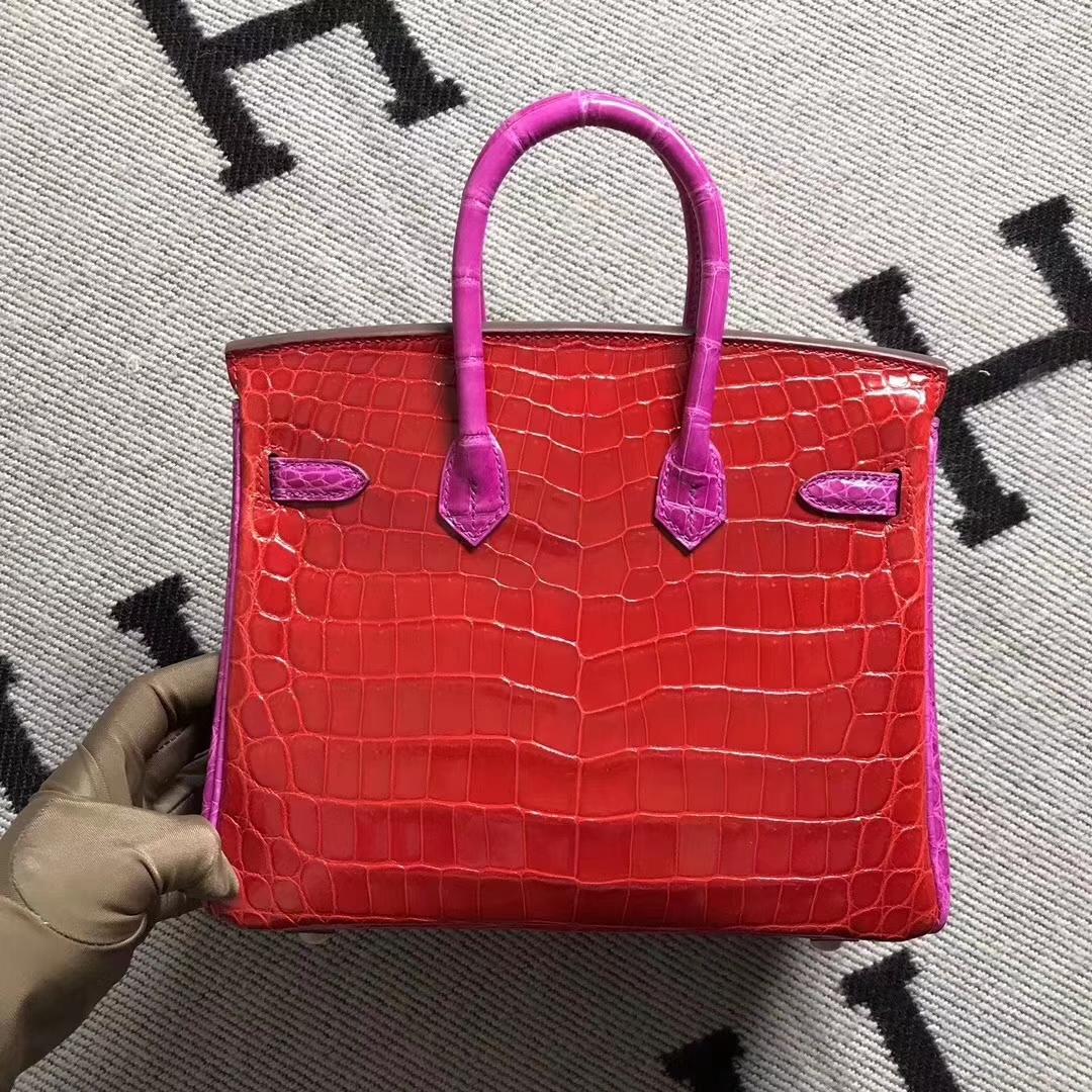 Hermès(爱马仕)Birkin 铂金包 法拉利红拼 原版品质 金扣 现货 25cm