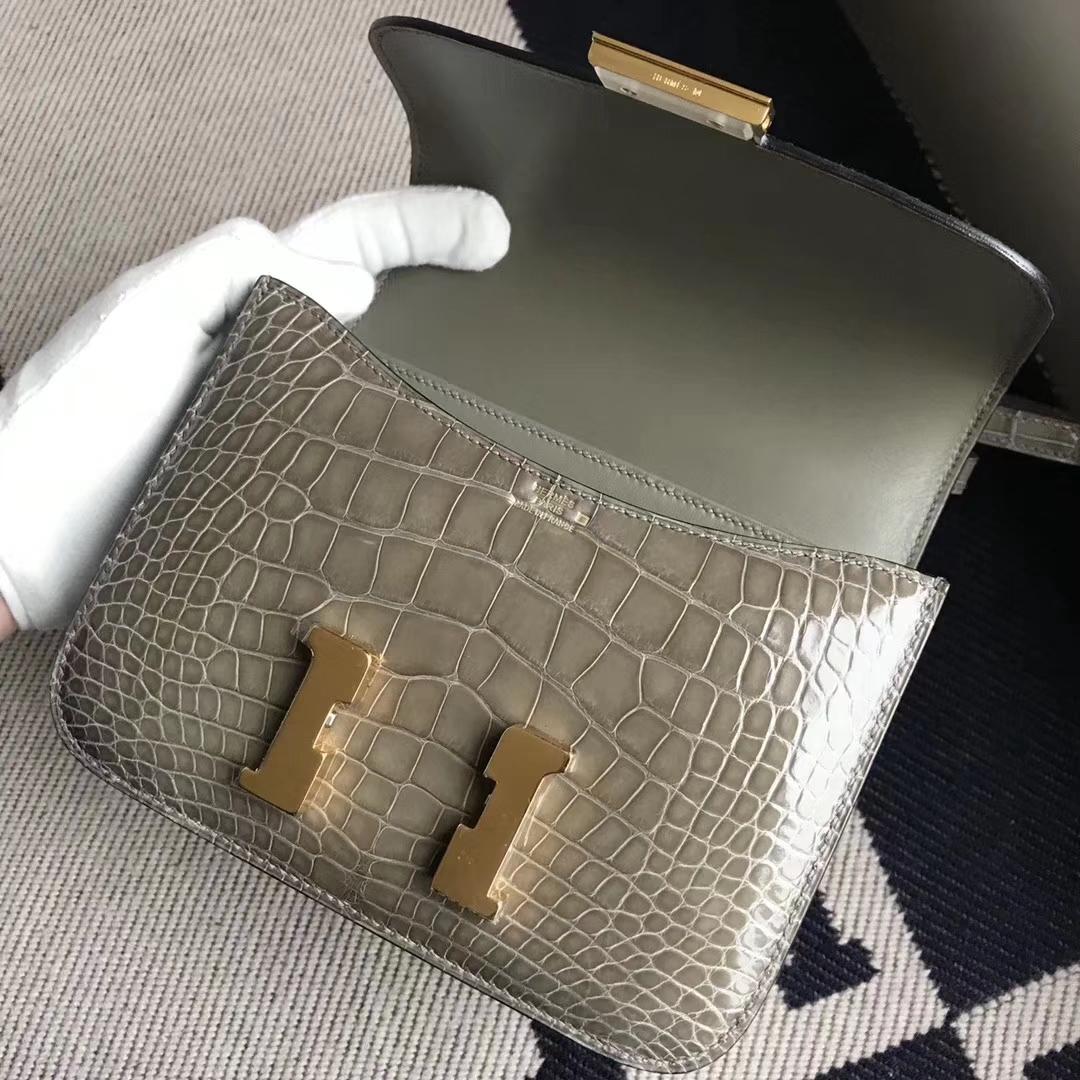 Hermès(爱马仕)Constance空姐包 Alligator shiny 亮面鳄鱼 ck81 斑鸠灰 金扣 品相完美 顶级货 18cm
