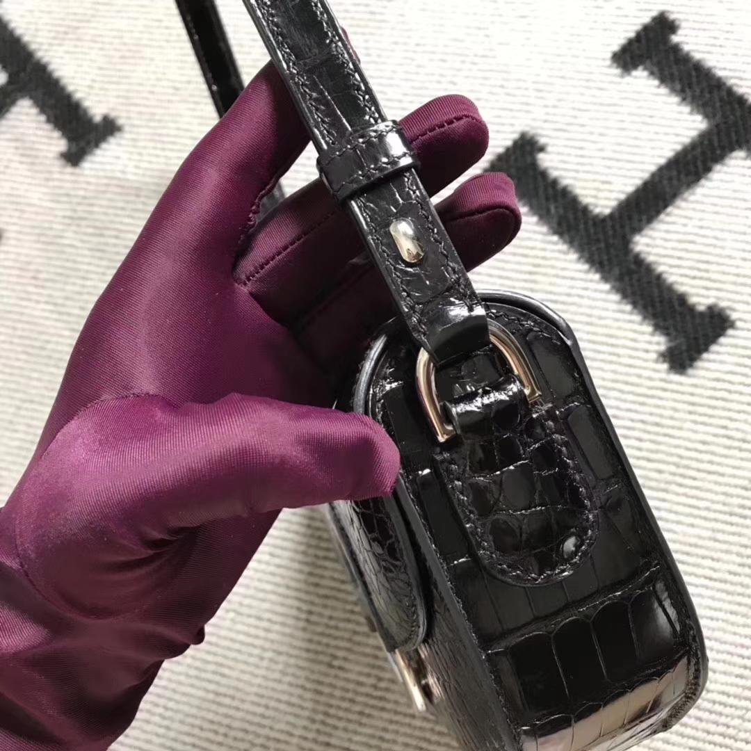Hermès(爱马仕)cherche Midi mini 黑色 美洲鳄 银扣 现货