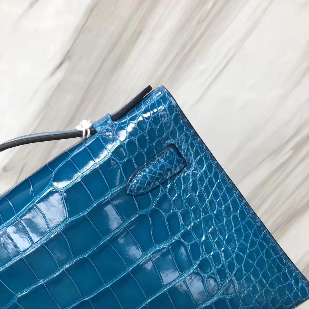 Hermès(爱马仕) Minikelly pochette Alligator shiny 亮面鳄鱼 7W 伊兹密尔蓝 银扣 手拿包 晚宴包 22cm