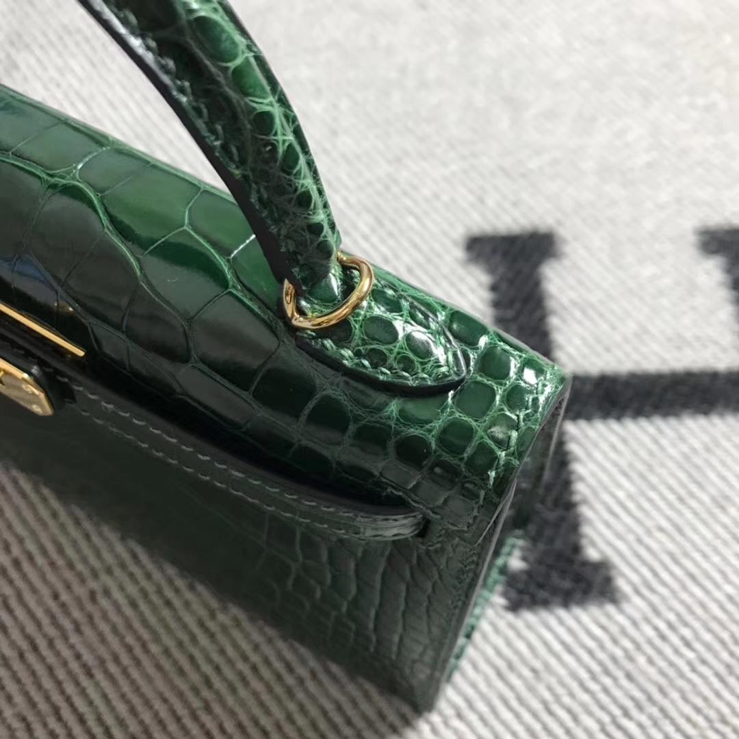 Hermès(爱马仕)mini 迷你凯莉 祖母绿 美洲鳄鱼方块 金扣 2代 小极品现货