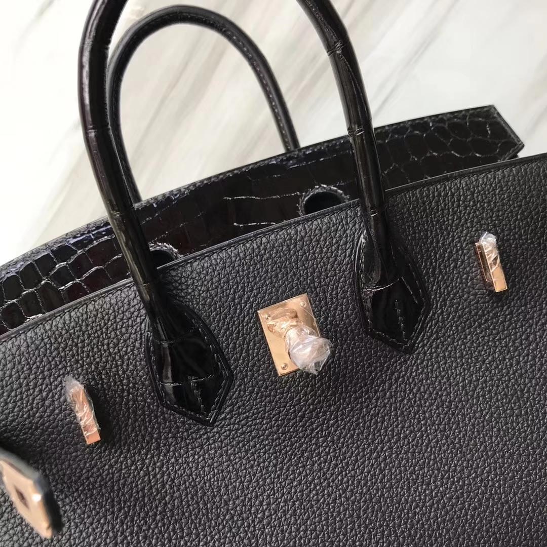Hermès(爱马仕)Birkin铂金包 ck89 黑色 noir crocodile shiny 亮面鳄鱼黑色 玫瑰金 25cm