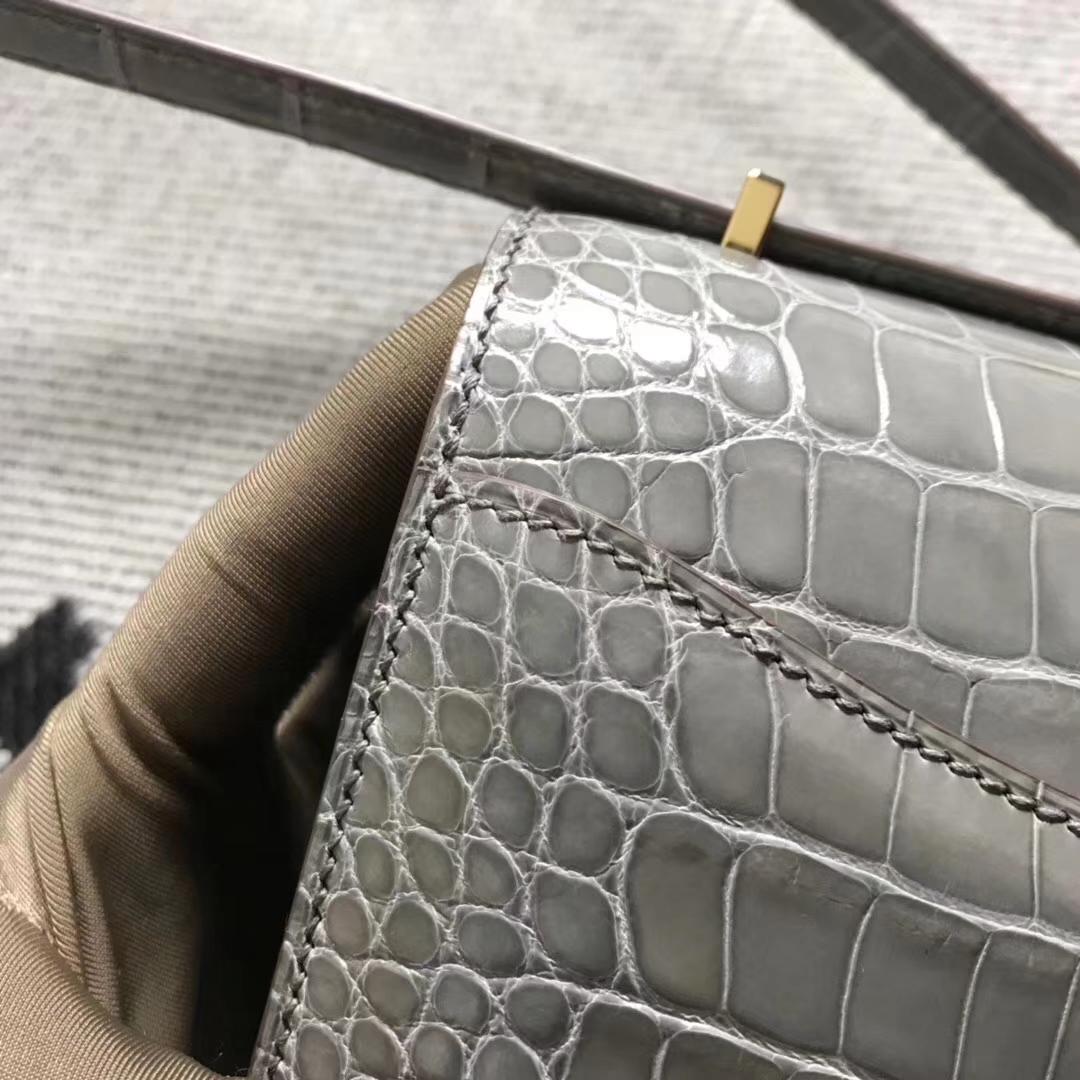 Hermès(爱马仕)空姐包 斑鸠灰 美洲鳄 金扣 现货 19cm