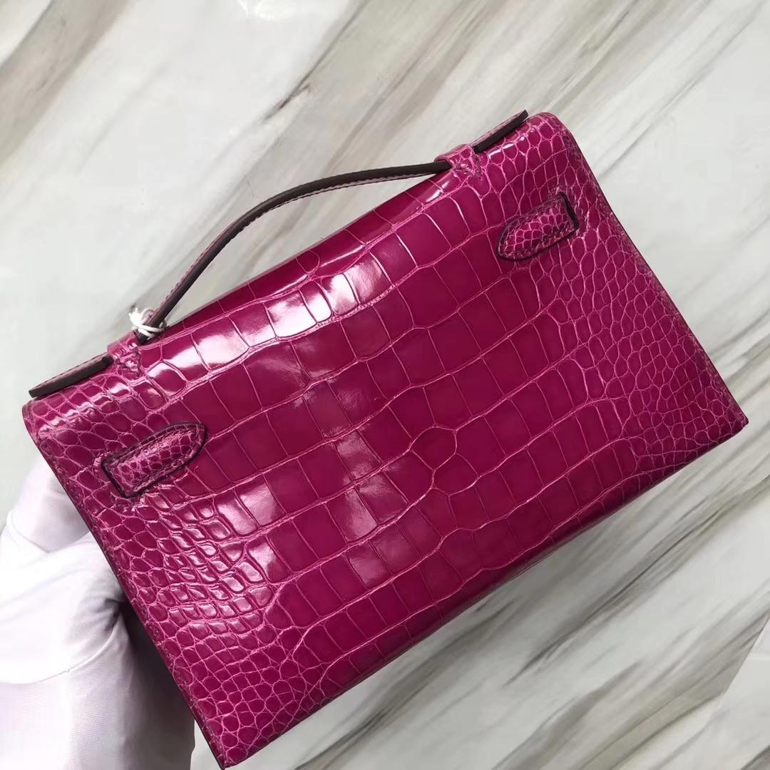 Hermès(爱马仕) Minikelly pochette Alligator shiny 亮面鳄鱼 J5 天方夜谭粉紫 金扣 手拿包 晚宴包 22cm