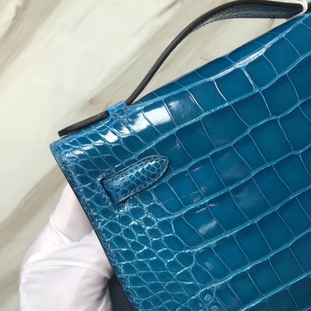 Hermès(爱马仕) Minikelly pochette Alligator shiny 亮面鳄鱼 7W 伊兹密尔蓝 Blue izmir 金扣 手拿包 晚宴包 22cm