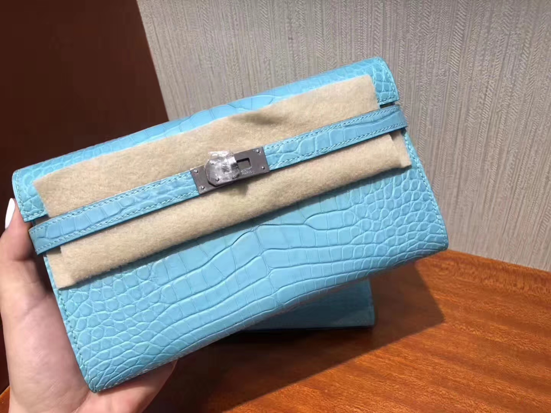 Hermès(爱马仕)Kelly wallet Alligator matt 3Z 圣西尔蓝 银扣 纯粹的蓝色 超美 钱夹 手包