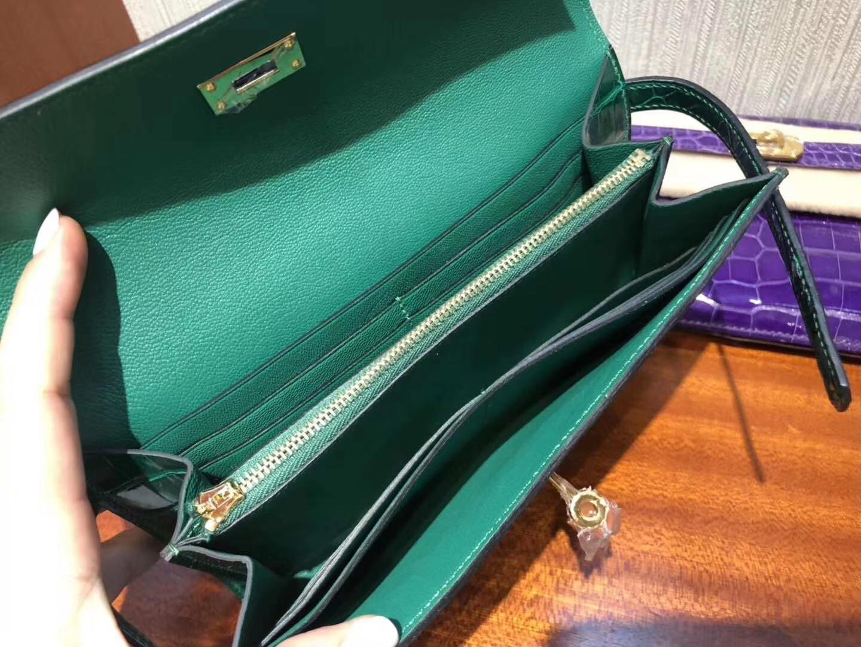 Hermès(爱马仕)Kelly wallet Alligator shiny 6Q 翡翠绿 金扣 超美 钱夹 手包
