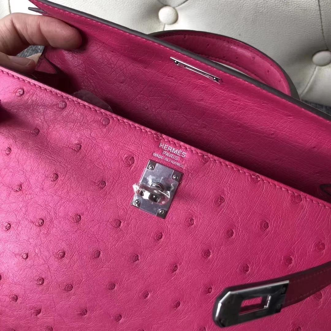 Hermès(爱马仕)Kelly 凯莉包 ostrich kk鸵鸟 顶级鸵鸟皮 桃红 蜡线全手工 银扣 25cm