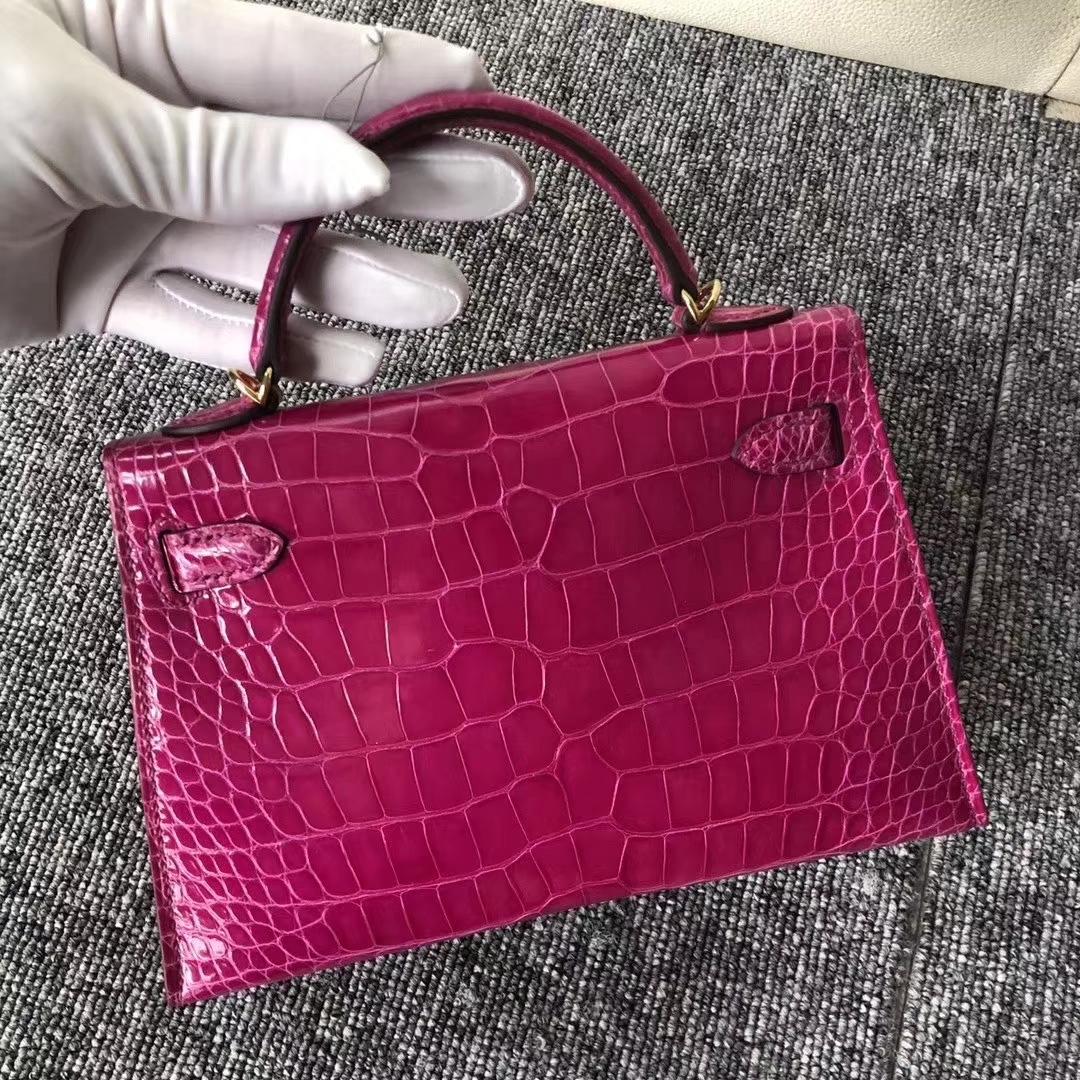 Hermès(爱马仕)Kelly2代 19cm crocodile 亮面框框美洲鳄 J5天方夜谭粉紫 蜡线全手工 金扣