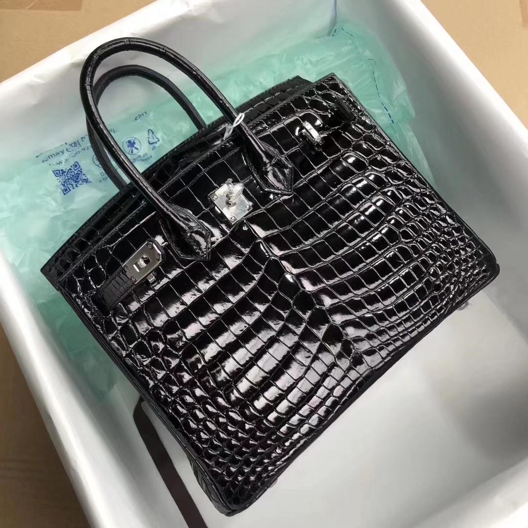 Hermès(爱马仕)Birkin25cm Crocodile shiny 亮面鳄鱼 ck89 黑色 Noir 银扣 拱珠皮 顶级手缝 现货