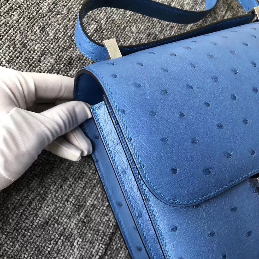 Hermès(爱马仕)Constance 空姐包 ostrich kk鸵鸟 7Q希腊蓝 蜡线全手工 23cm 接受预定