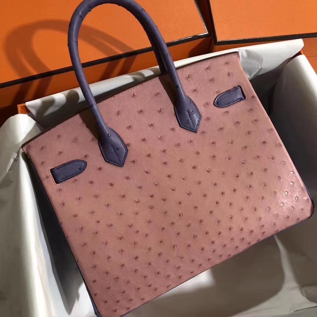 Hermès(爱马仕)Birkin 铂金包 30cm Ostrich kk 鸵鸟 cc94陶瓷粉明+蓝色 金扣 马蹄印