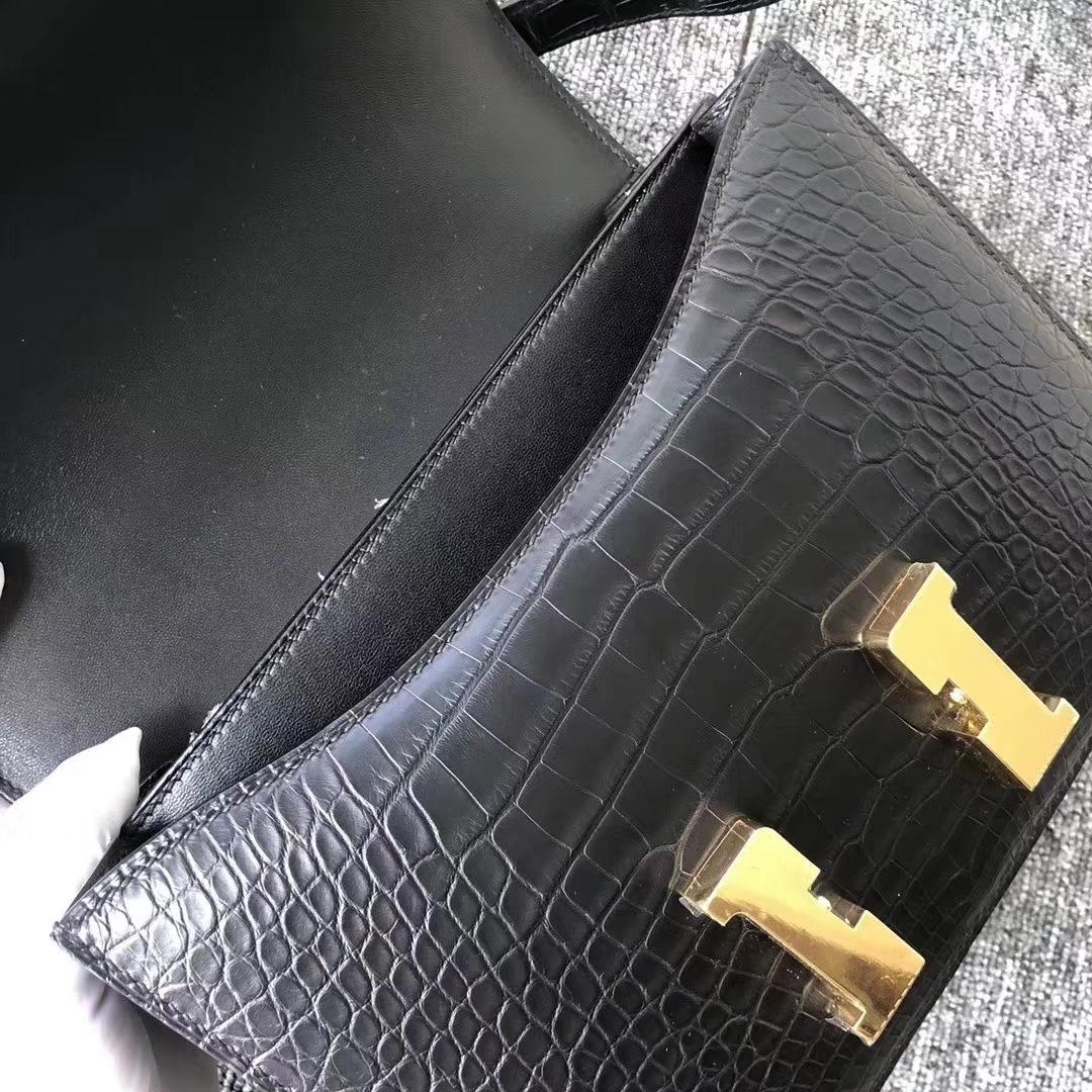 Hermès(爱马仕)Constance 空姐包 雾面框框美洲鳄 ck89黑色 23cm 顶级工艺 接受预定
