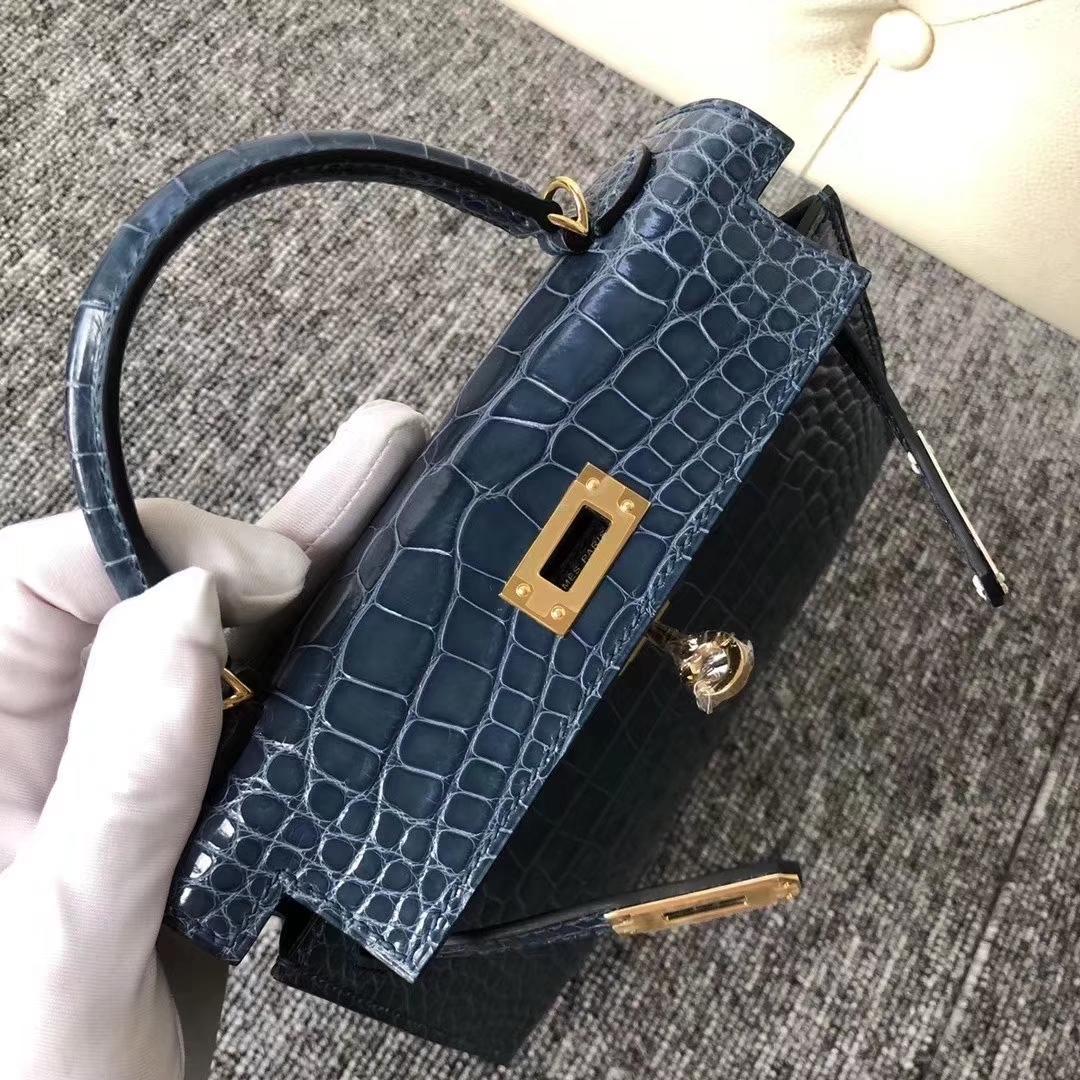 Hermès(爱马仕)Kelly2代 19cm crocodile 亮面框框美洲鳄 1P鸭子蓝 蜡线全手工 金扣