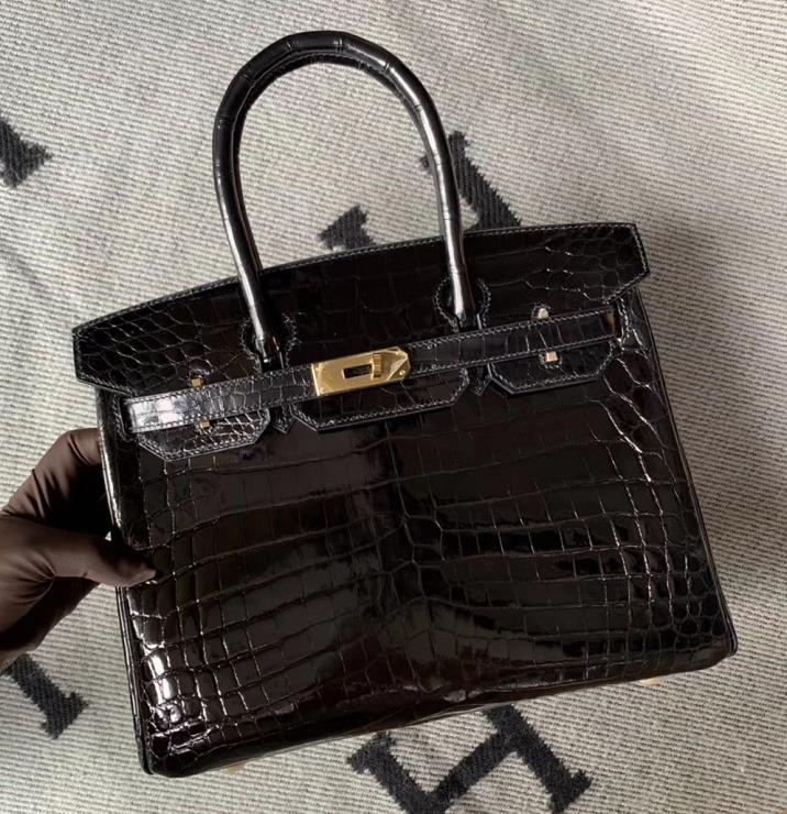 Hermès(爱马仕)Birkin 铂金包 黑色 金扣 30cm