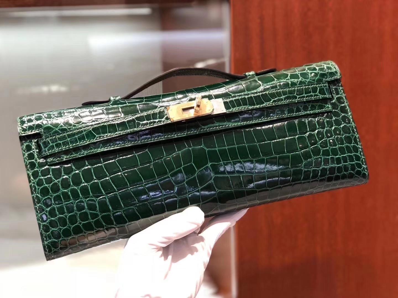 Hermès(爱马仕)Kelly cut Porosus shiny 亮面澳洲湾鳄 ck67 祖母绿 金扣 31cm