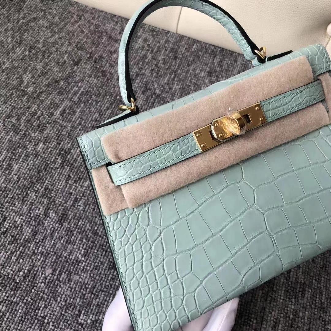 Hermès(爱马仕)Mini Kelly 迷你凯莉 雾面框框美洲鳄 6U薄荷绿 蜡线全手工 19cm 接受预定