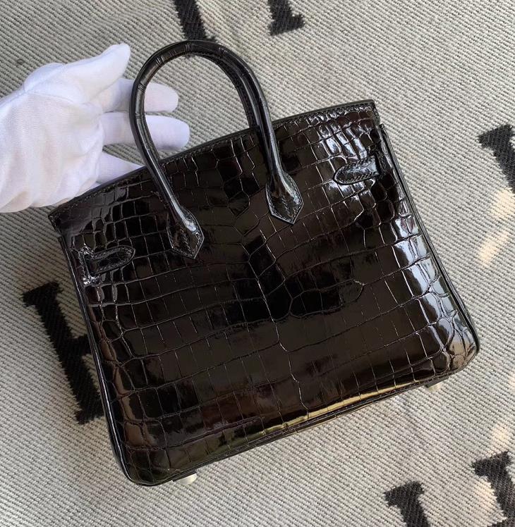Hermès(爱马仕)Birkin 铂金包 黑色 银扣 25cm