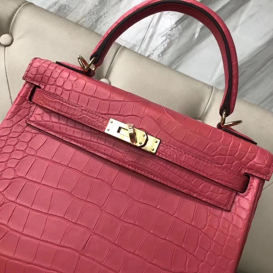 Hermès(爱马仕)Kelly 凯莉包 雾面框框美洲鳄 A5杜鹃红 蜡线全手工 25cm