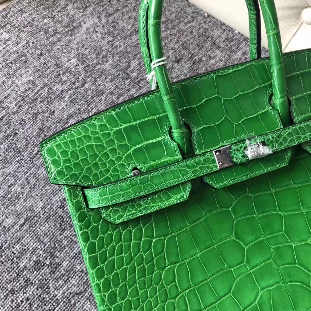 Hermès(爱马仕)Birkin 铂金包 亮面框框美洲鳄 1L仙人掌绿 顶级工艺 蜡线全手工 银扣 25cm