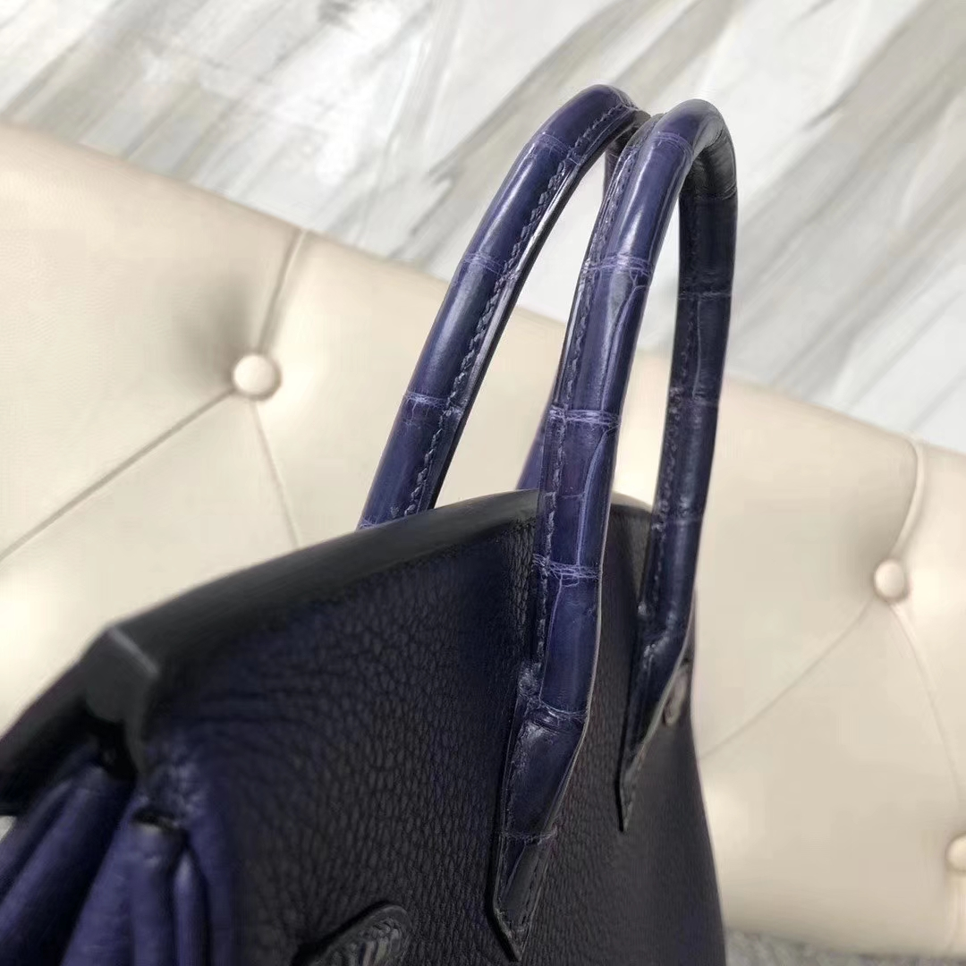 Hermès(爱马仕)Birkin 铂金包 黑色 拼 深蓝色 touch 系列 25cm