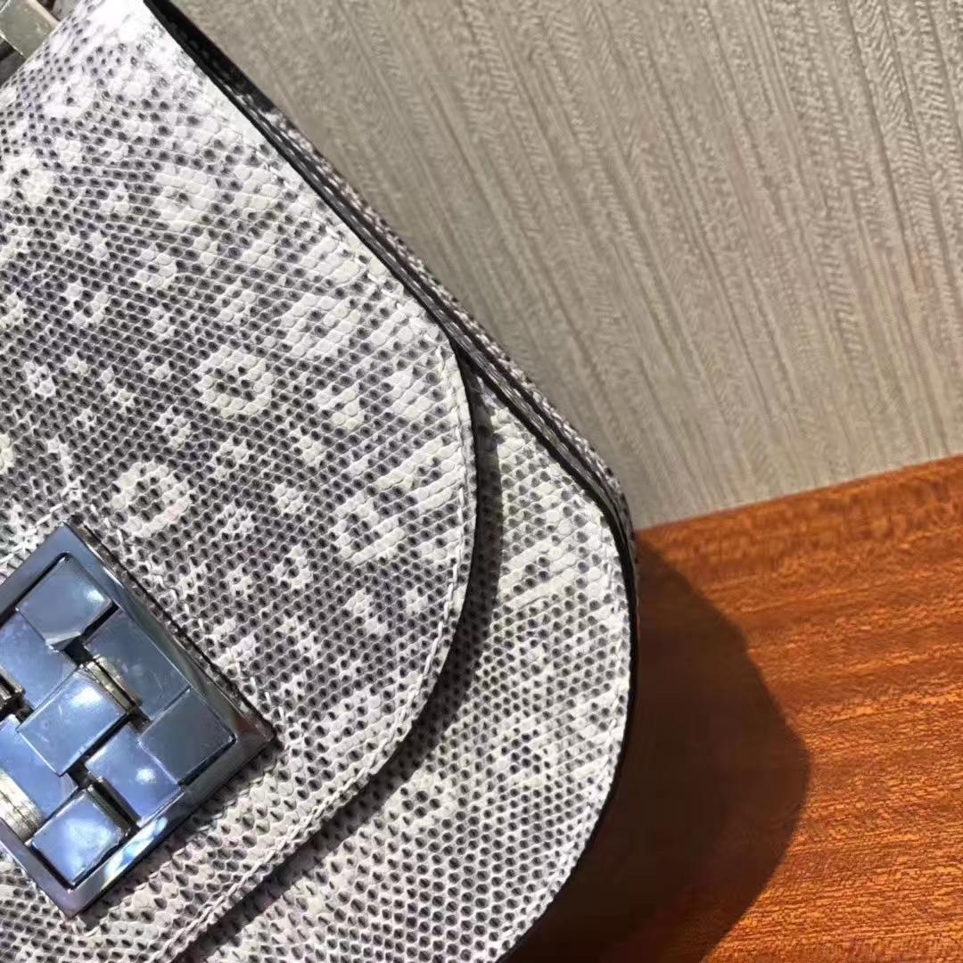 Hermès(爱马仕)Mosaique 马赛克包 Lizard 原厂亮面蜥蜴 雪花色蜥蜴内拼墨绿色 银扣 17cm 现货