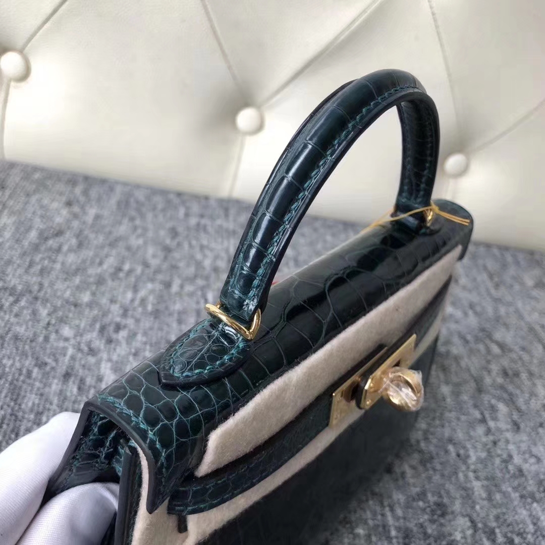 Hermès(爱马仕)Mini Kelly 迷你凯莉 6O松柏绿 蜡线全手工 金扣 2代 19cm