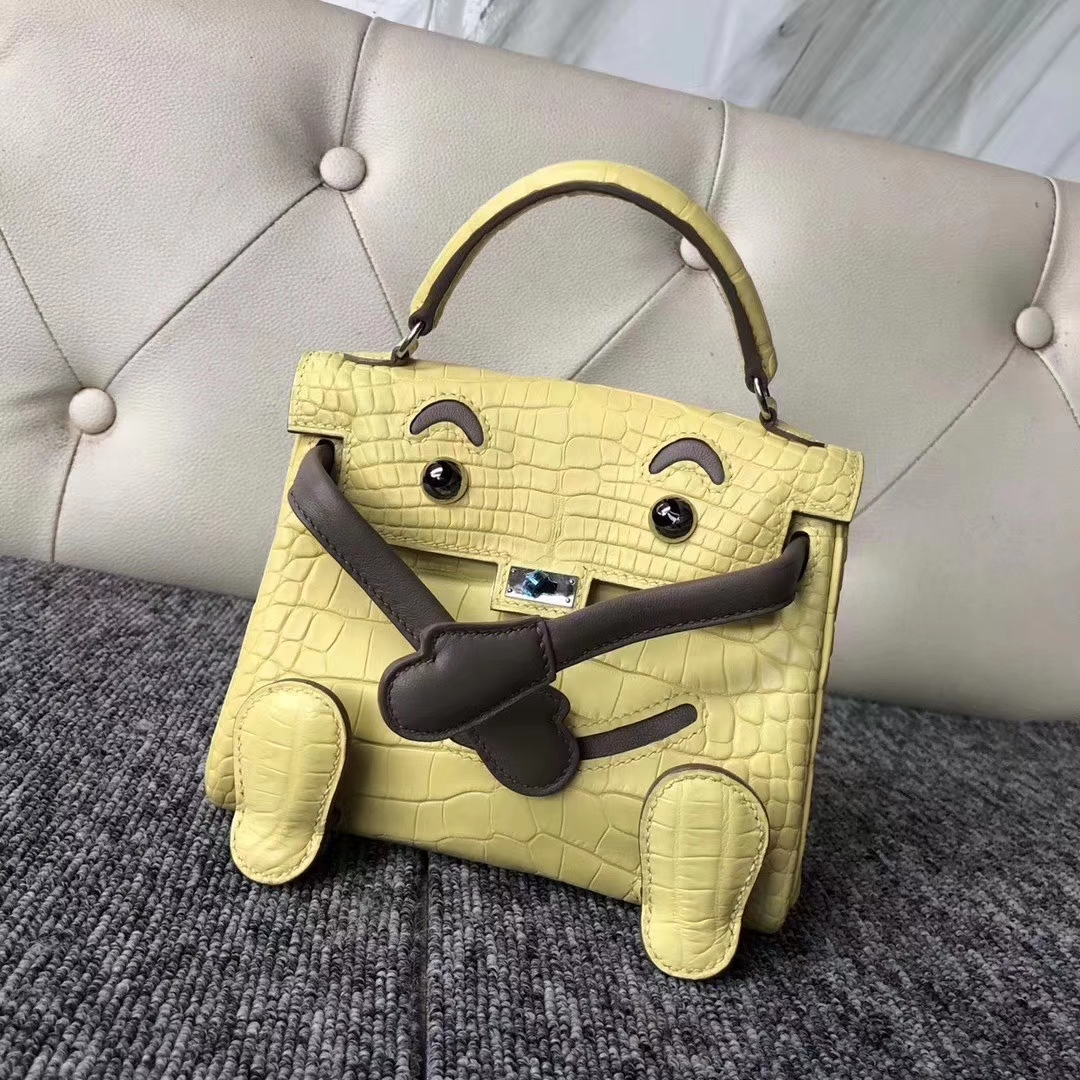 Hermès(爱马仕)Kelly doll Alligator matt 雾面鳄鱼 9R 柠檬黄 银扣