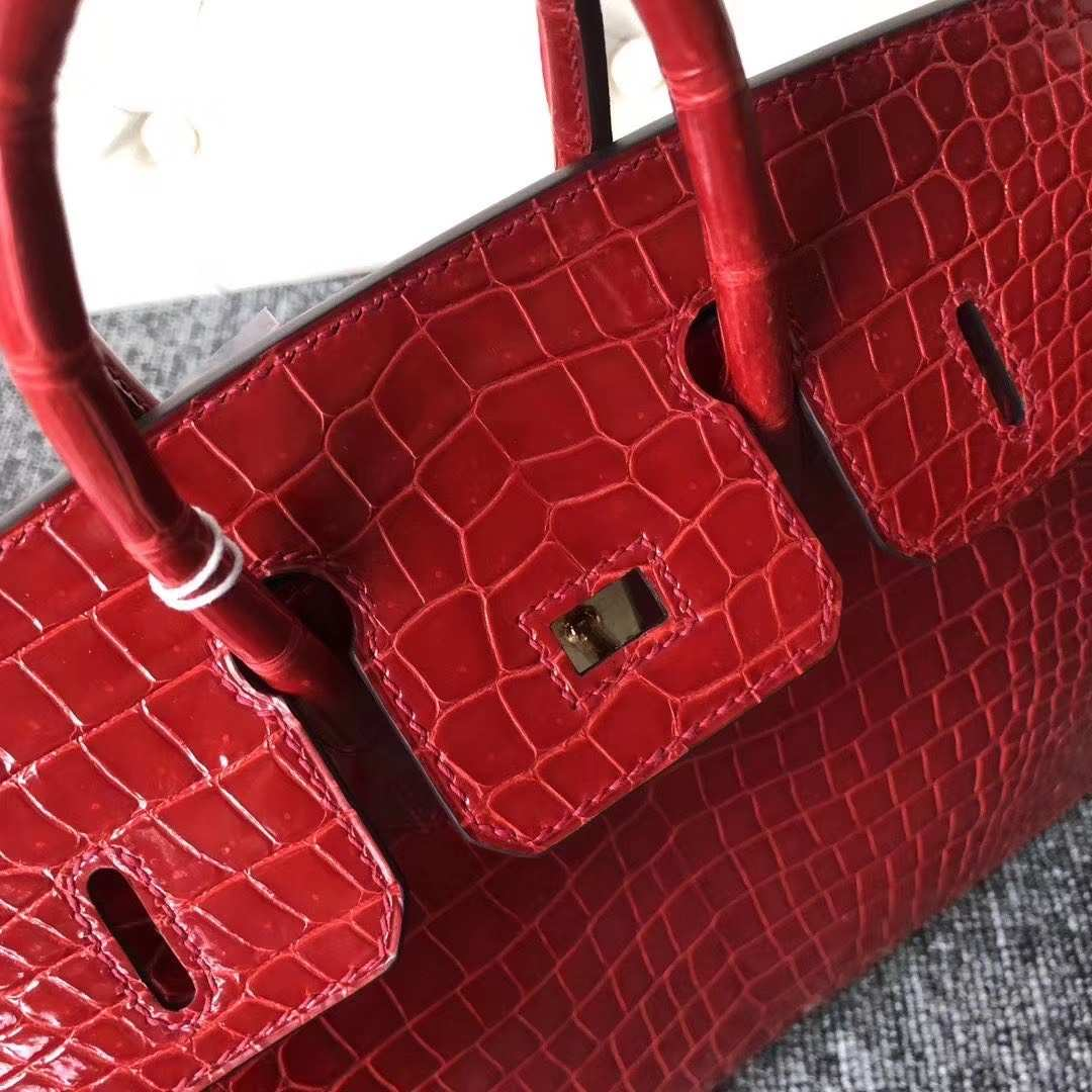 Hermès(爱马仕)Birkin 铂金包 亮面澳洲湾鳄 ck95 法拉利红 Braise 金扣 25cm