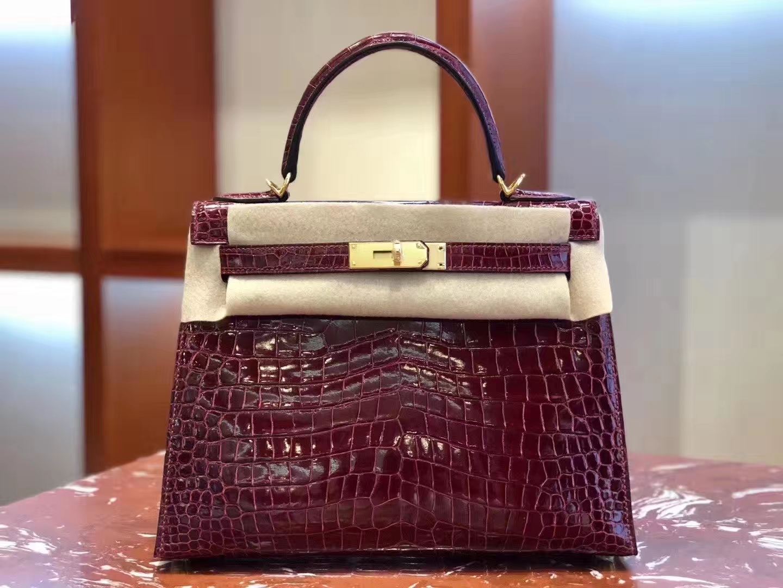 Hermès(爱马仕)Kelly 凯莉包 亮面澳洲湾湾 F5勃艮第酒红 蜡线全手工 金扣 28cm