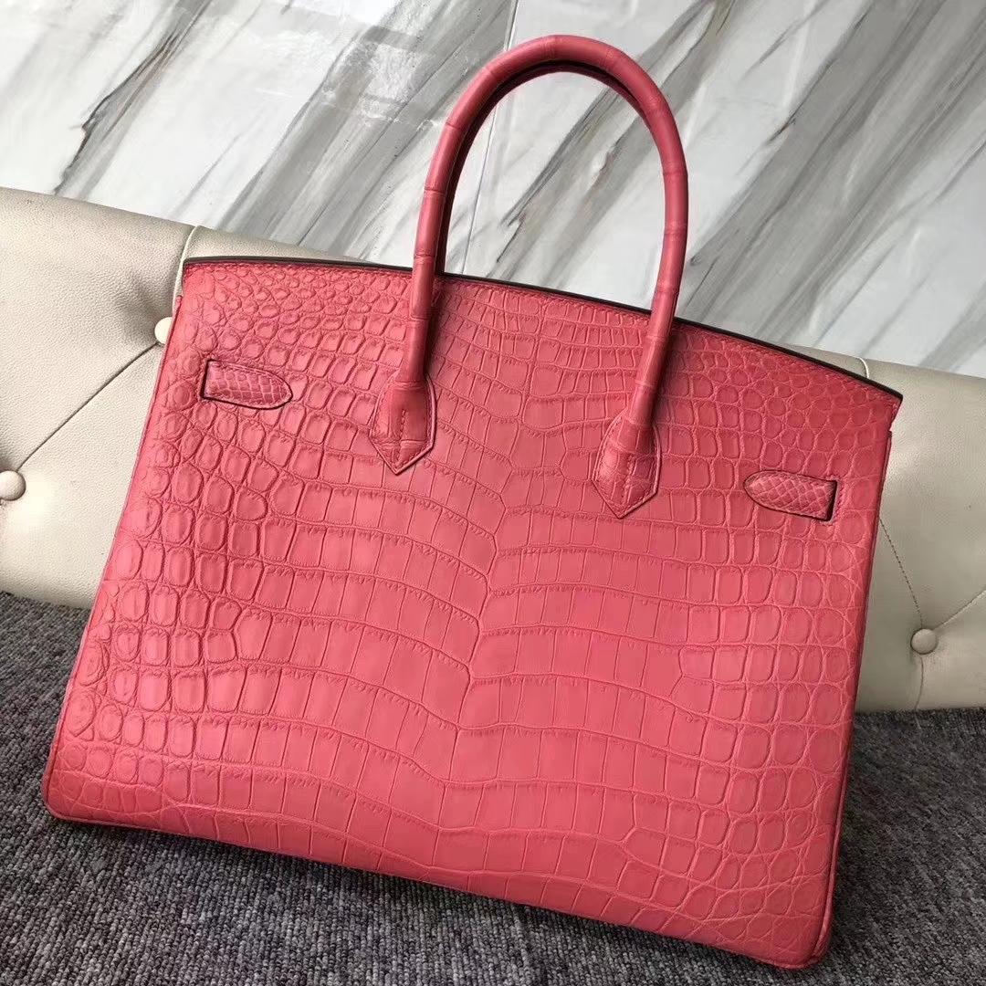 Hermès(爱马仕)Birkin 铂金包 雾面鳄鱼 A5 杜鹃红 金扣 顶级手缝 35cm 现货