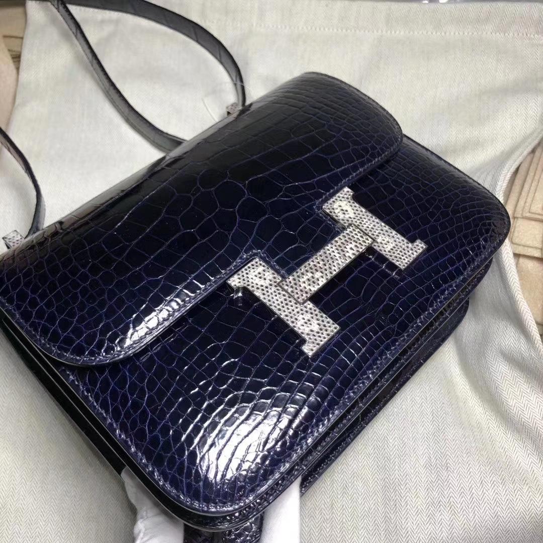 Hermès(爱马仕)Constance 空姐包 23cm 亮面框框美洲鳄 宝石蓝拼蜥蜴扣 蜡线全手工 接受预定