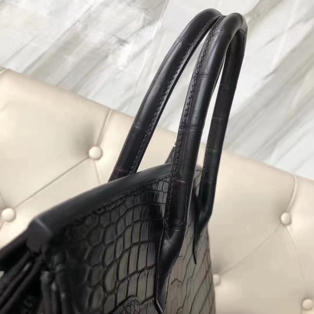 Hermès(爱马仕)Birkin 铂金包 雾面两点汨罗鳄 ck89黑色  顶级工艺 蜡线全手工 金扣 30cm