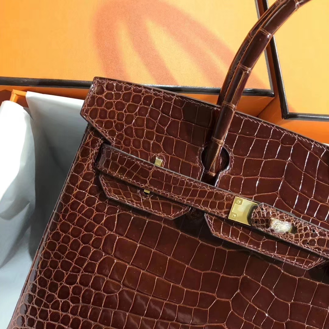Hermès(爱马仕)Birkin 铂金包 30cm 亮面澳洲湾鳄 ck31 蜜糖棕 Miel 金扣 顶级手缝 现货