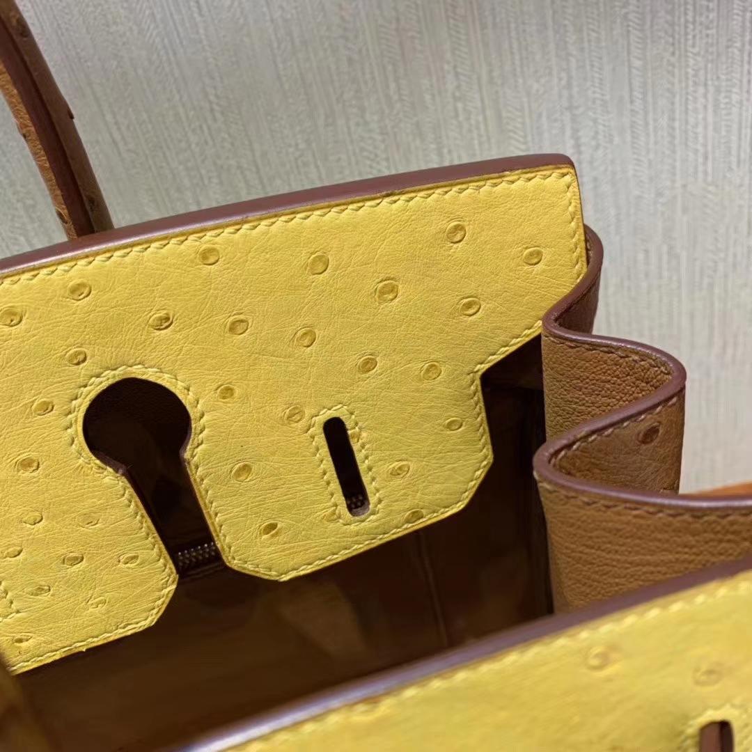 Hermès(爱马仕)Birkin 铂金包 ostrich kk鸵鸟 顶级鸵鸟皮 9D琥珀黄拼金棕色 蜡线全手工 拉丝金扣 30cm