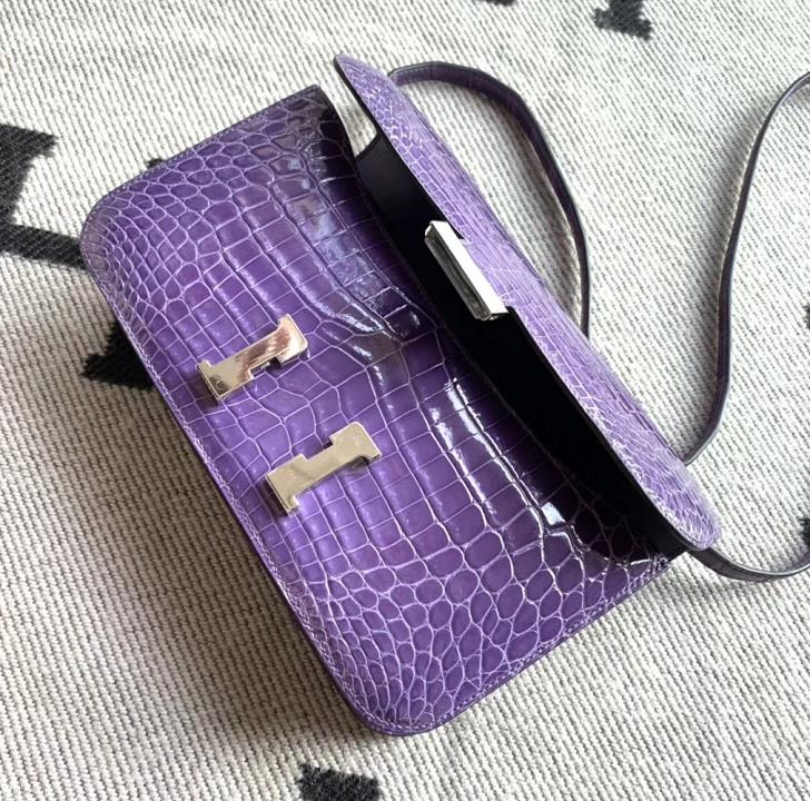Hermès(爱马仕)Constance空姐包 水晶紫亮面鳄鱼皮 银扣 26cm