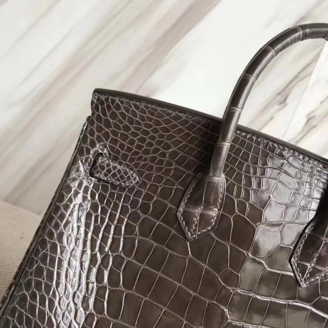 Hermès(爱马仕)Birkin 铂金包 亮面框框美洲鳄 8P铅笔灰 顶级工艺 蜡线全手工 金扣 25cm