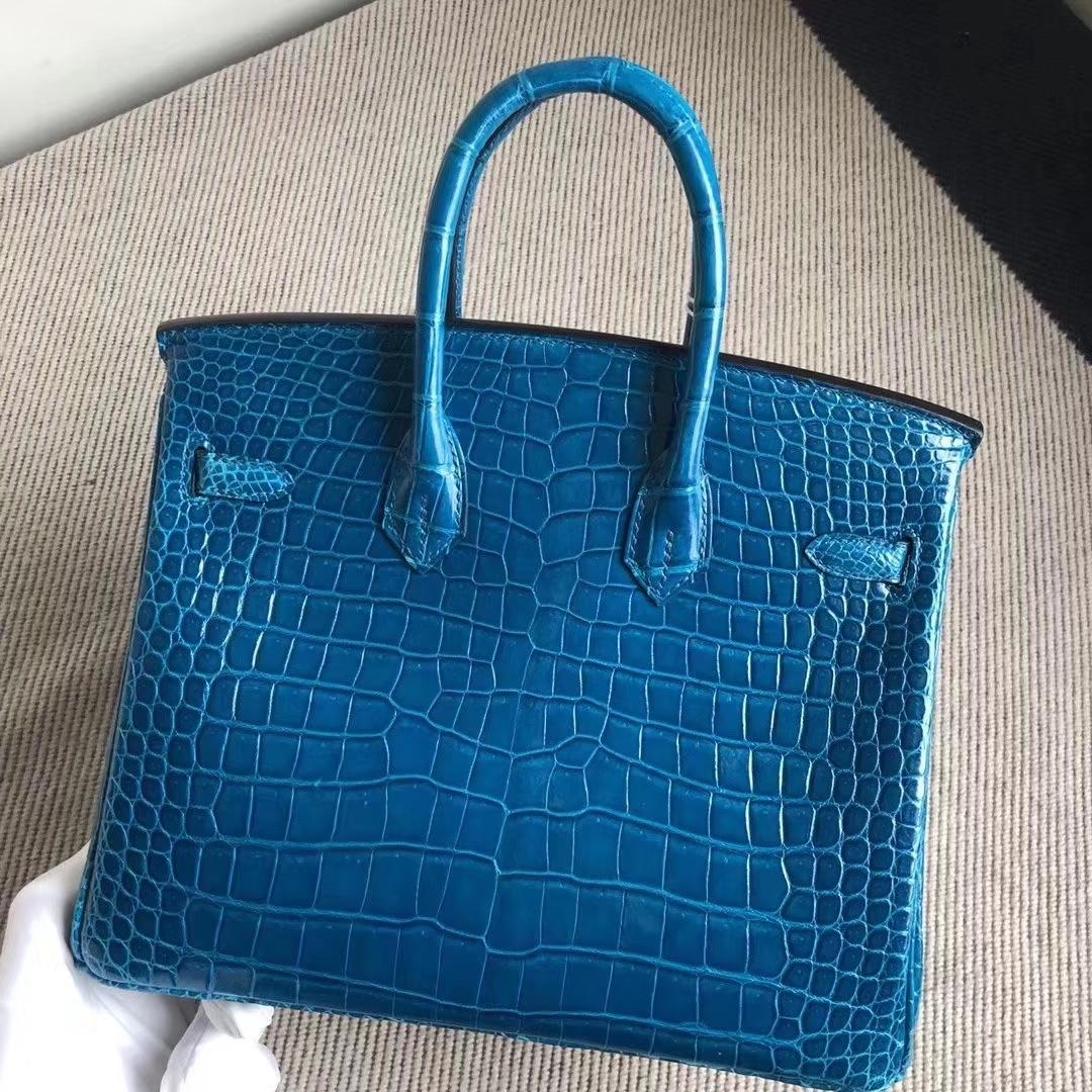 Hermès(爱马仕)Birkin 铂金包 亮面澳洲湾鳄 7W伊兹密尔蓝 顶级工艺 蜡线全手工 银扣 25cm