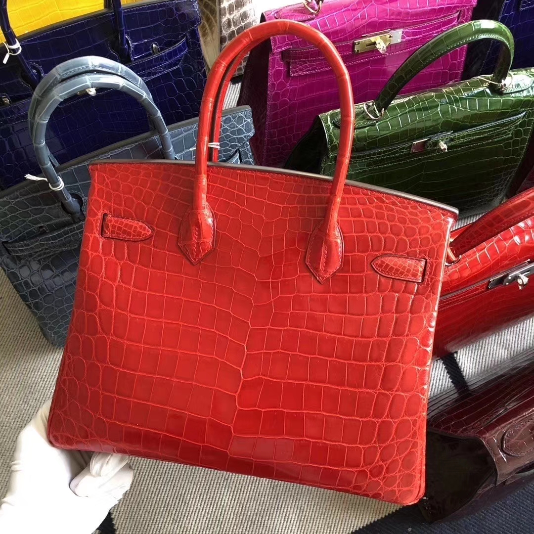 Hermès(爱马仕)Birkin 铂金包 亮面鳄鱼 ck95 法拉利红 Braise 银扣  顶级手缝 30cm 现货