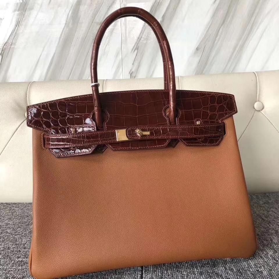 Hermès(爱马仕)Birkin 30cm Evecolor ck37 金棕色 鳄鱼蜜糖棕 金扣