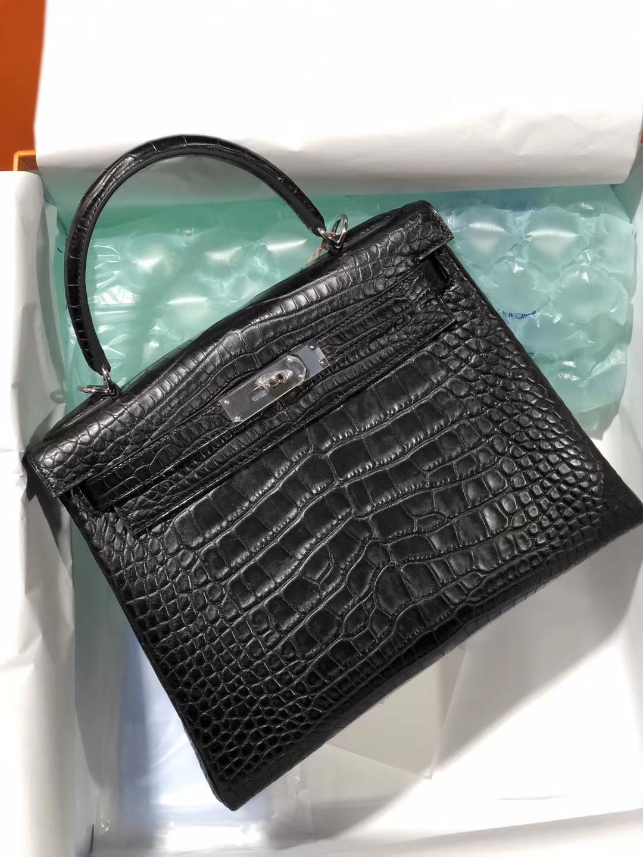 Hermès(爱马仕)Kelly 28cm Alligator matt 雾面鳄鱼 ck89 黑色 Noir 银扣 顶级手缝