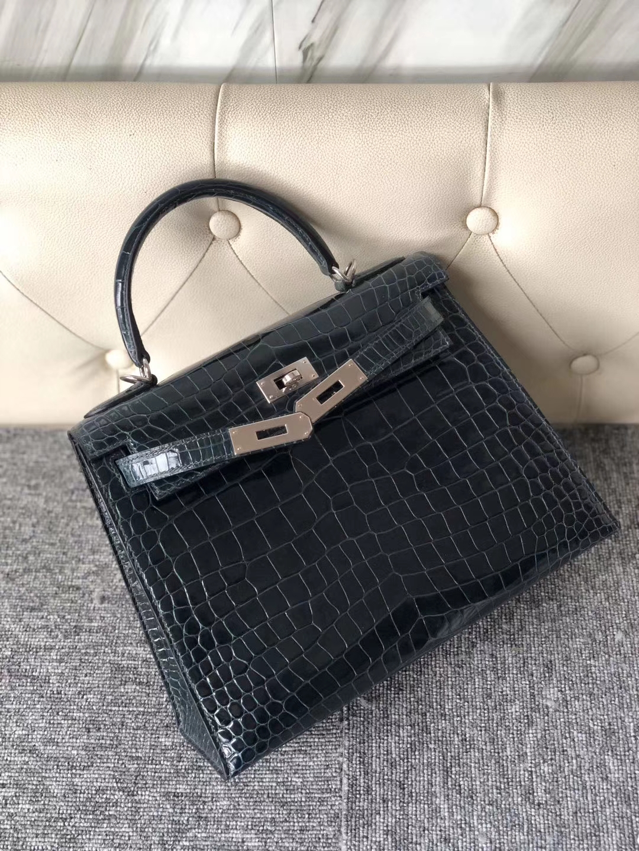 Hermès(爱马仕)Kelly 28cm Porosus shiny 亮面澳洲湾鳄 1p 鸭子蓝 银扣 现货