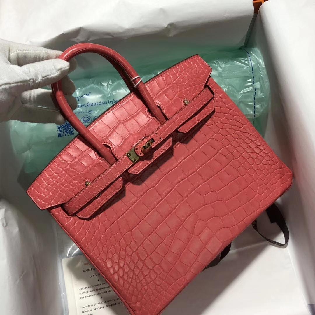 Hermès(爱马仕)Birkin 铂金包 Alligator matt雾面鳄鱼 A5 杜鹃红 金扣 25cm