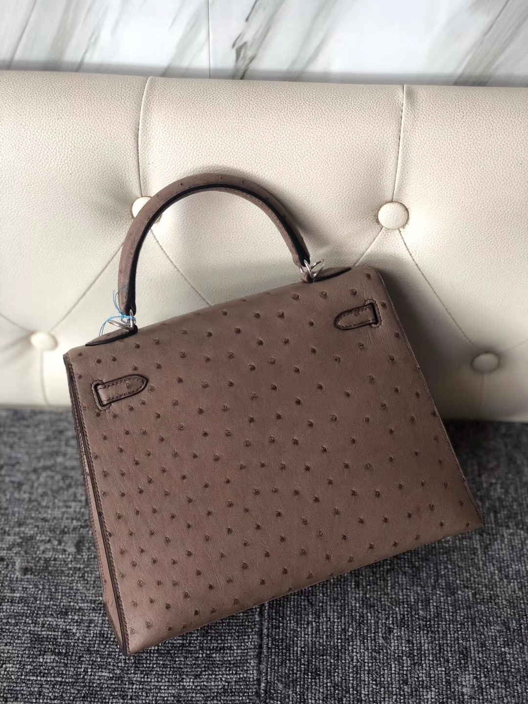 Hermès(爱马仕)Kelly 25cm Ostrich kk 鸵鸟 慕斯灰 金扣 银扣 顶级手缝 现货