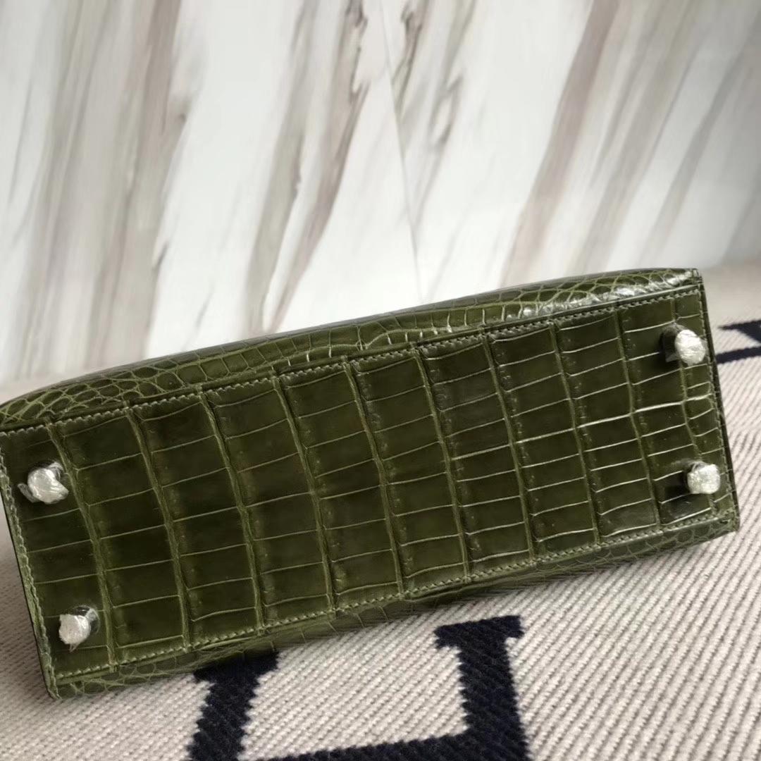 Hermès(爱马仕)Kelly 25cm Crocodile shiny 亮面鳄鱼 6H橄榄绿 银扣 顶级手缝 现货