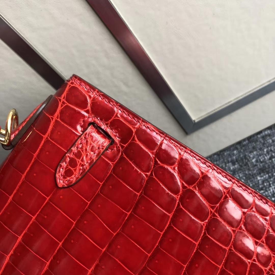Hermès(爱马仕)Kelly 25cm Crocodile shiny 亮面鳄鱼 ck95 法拉利红 金扣 现货