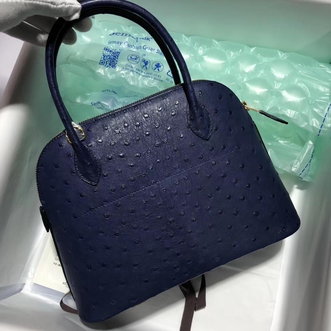 Hermès(爱马仕)Bolide 保龄球包 27cm  Ostrich kk 鸵鸟 宝石蓝 blue saphir 顶级手缝