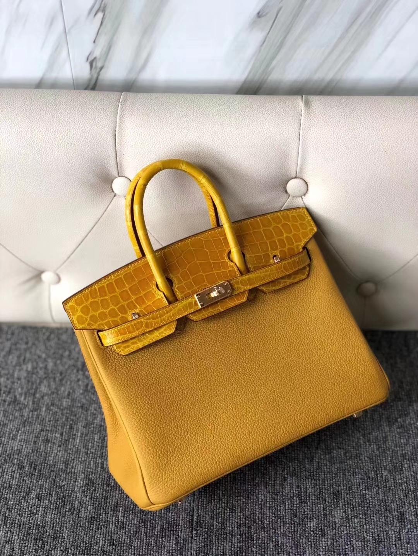 Hermès(爱马仕)Birkin 25cm touch 系列 9D 琥珀黄 Ambre 鳄鱼 金扣 现货
