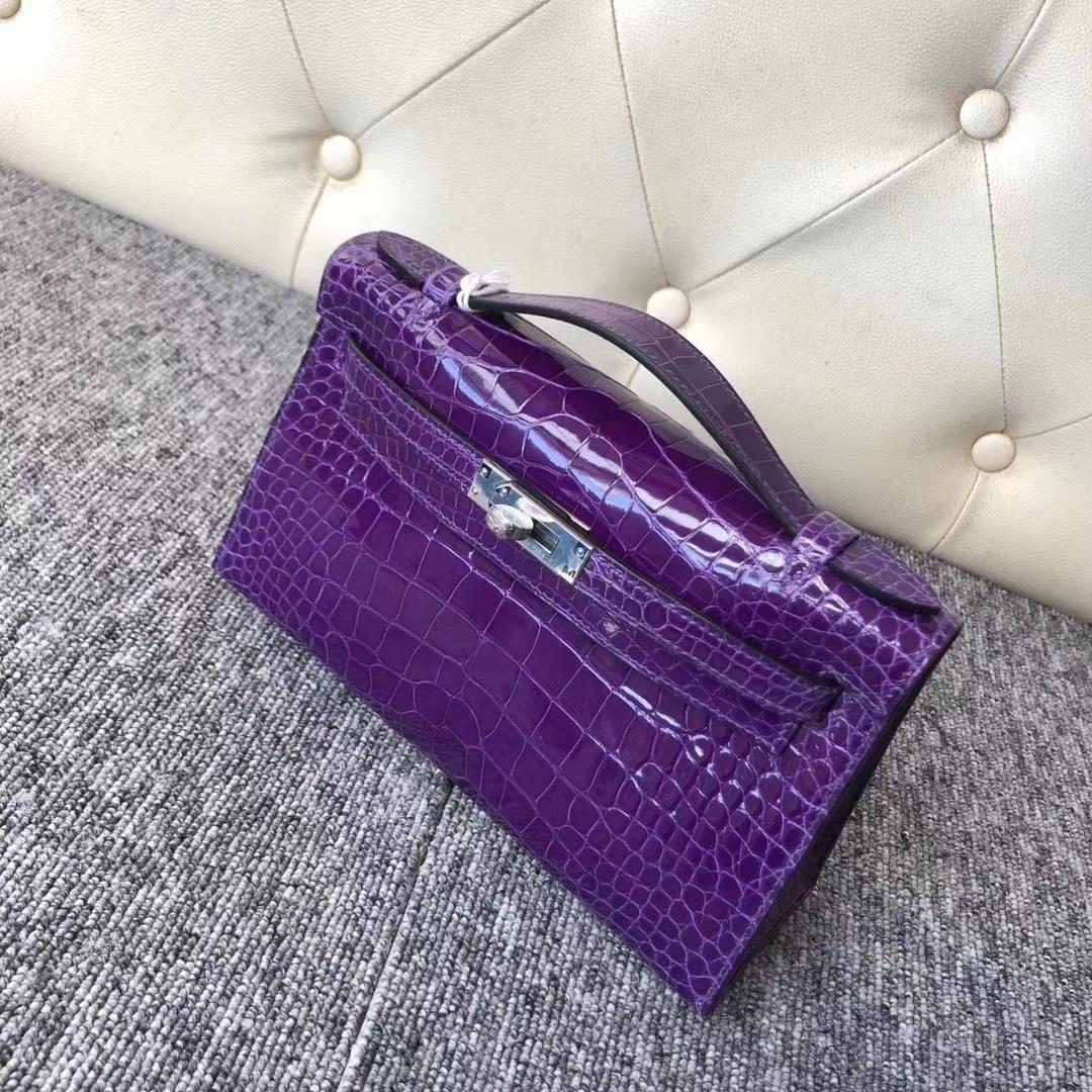 Hermès(爱马仕)Mini Kelly Pochette 22cm 亮面方块 美洲鳄鱼 极度紫 银扣 现货