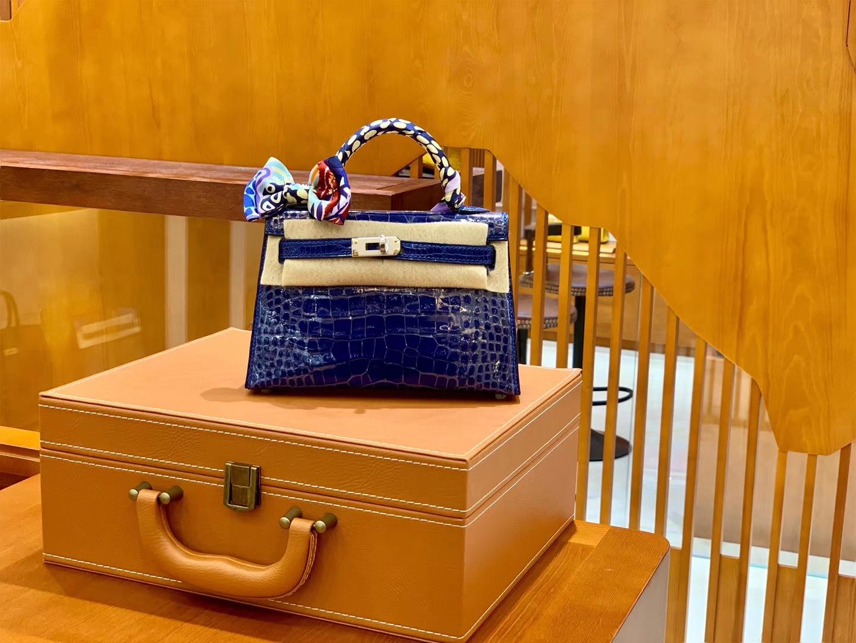 Hermès(爱马仕)迷你2代 19cm 琉璃蓝 雾面鳄鱼皮 珍贵方块印